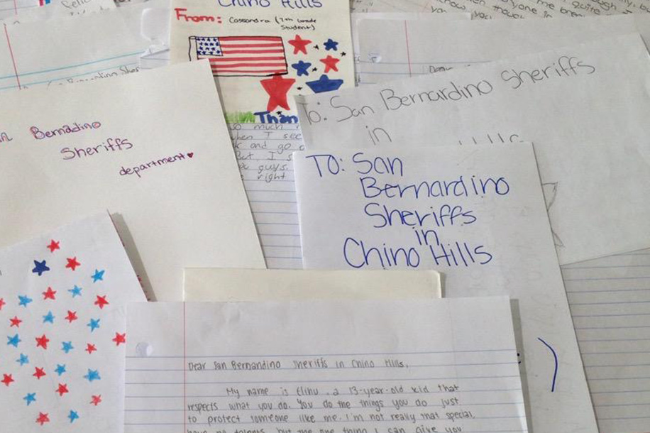 Sheriff and Chino Hills Deputies Thank Students for Heartfelt Letters